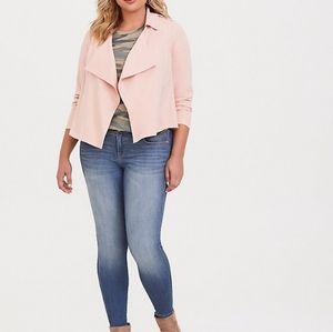 TORRID Blush Pink Twill Drape Front Blazer Size 2X